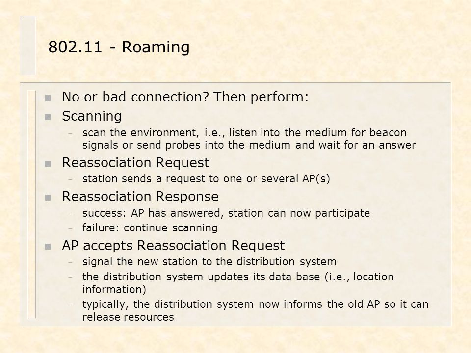802.11 - Roaming No or bad connection Then perform: Scanning