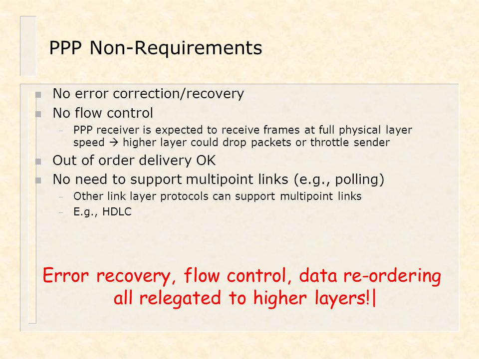 Error recovery, flow control, data re-ordering