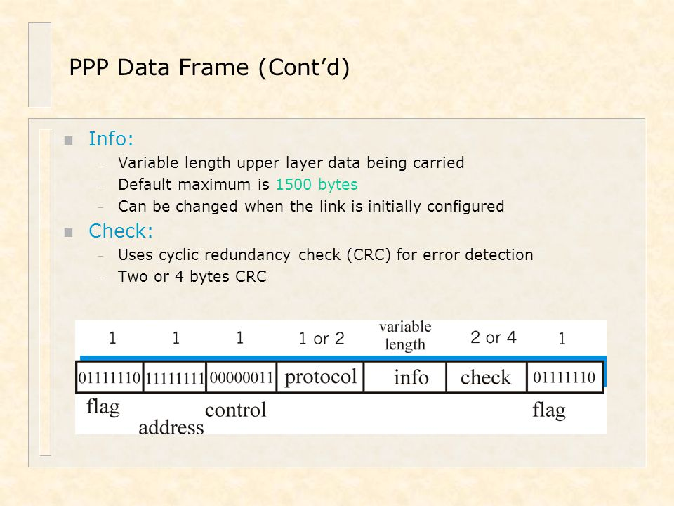 PPP Data Frame (Cont'd)