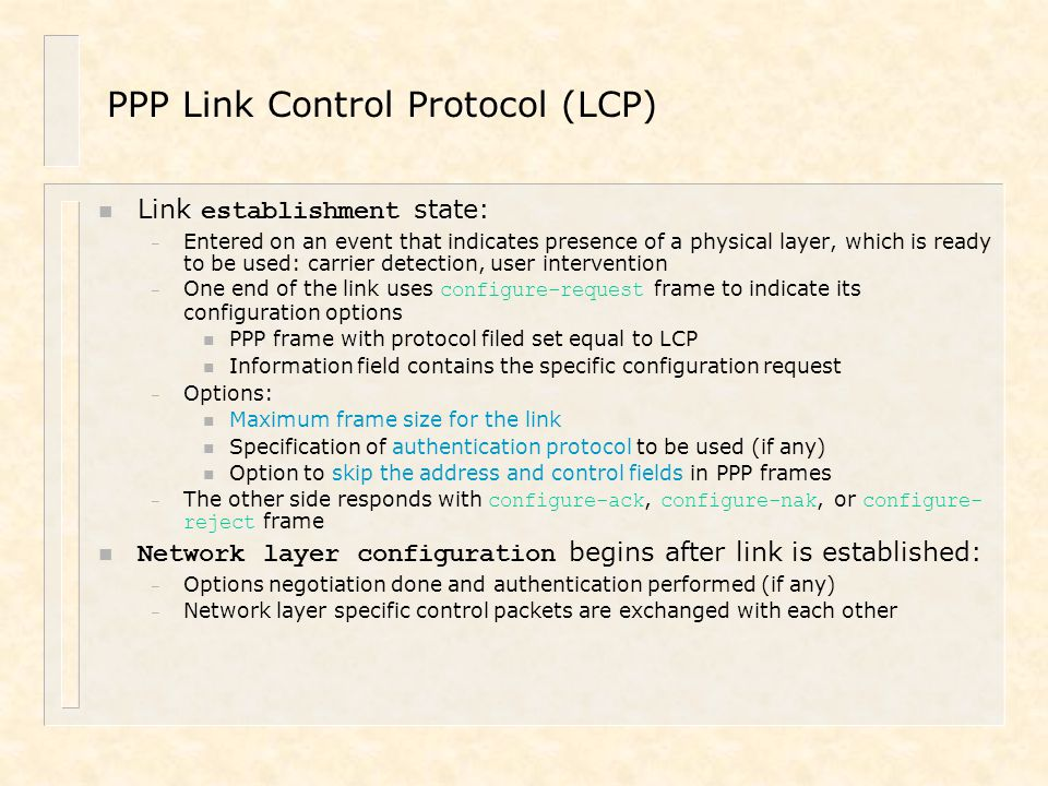 PPP Link Control Protocol (LCP)