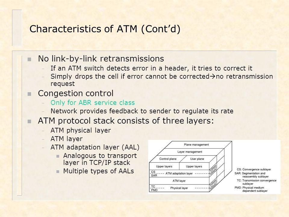 Characteristics of ATM (Cont'd)