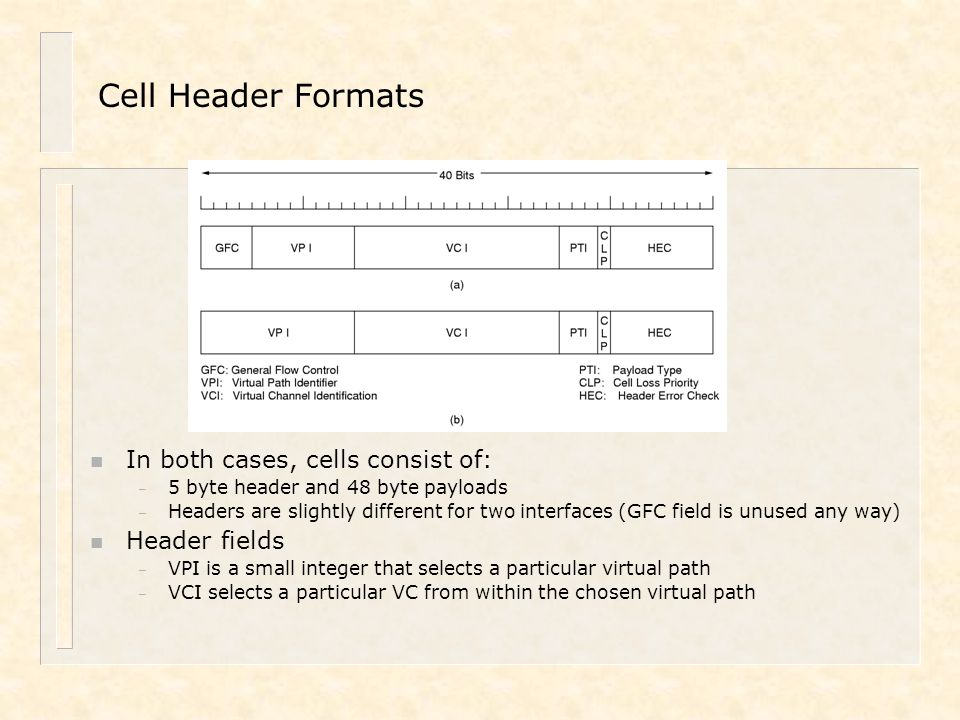Cell Header Formats In both cases, cells consist of: Header fields