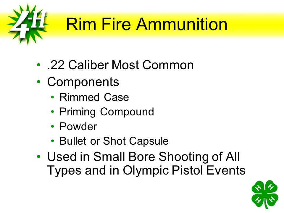 Rim Fire Ammunition .22 Caliber Most Common Components