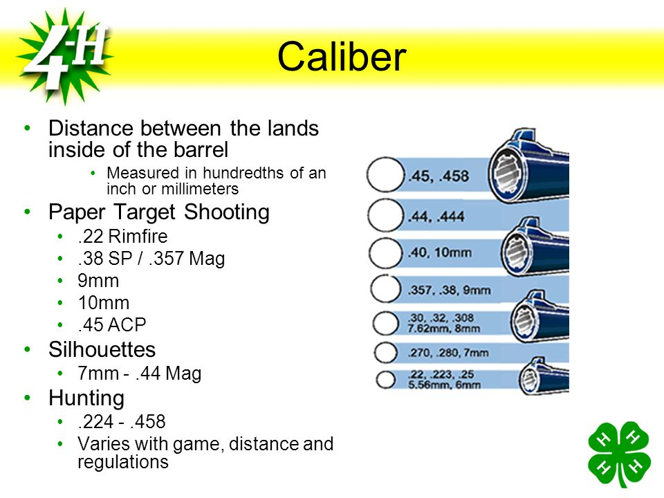 Caliber Distance between the lands inside of the barrel