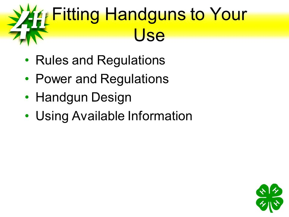 Fitting Handguns to Your Use