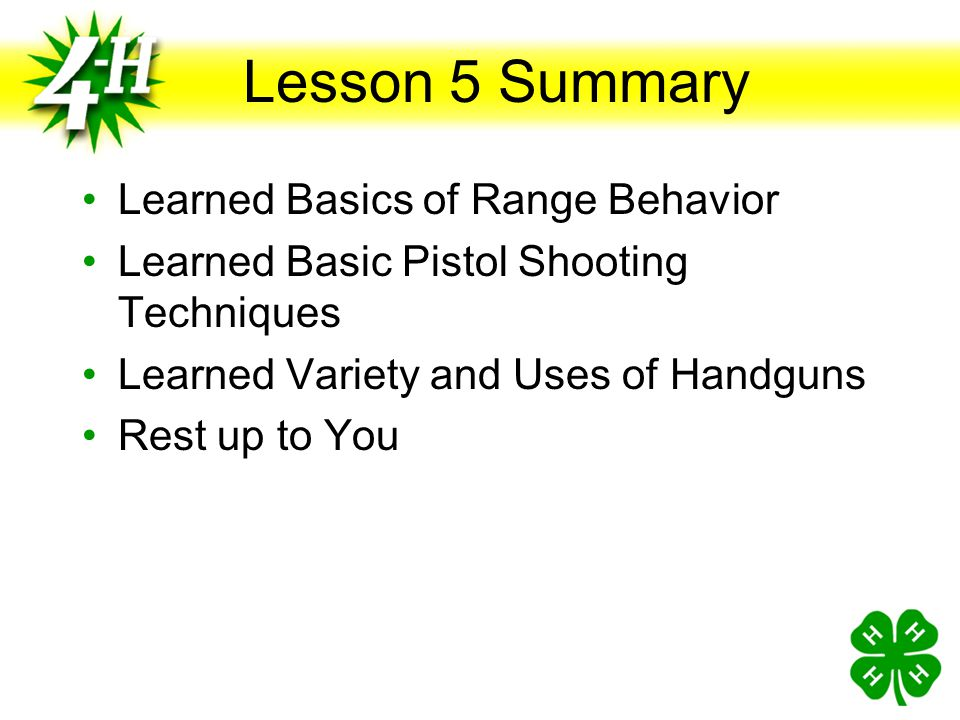 Lesson 5 Summary Learned Basics of Range Behavior