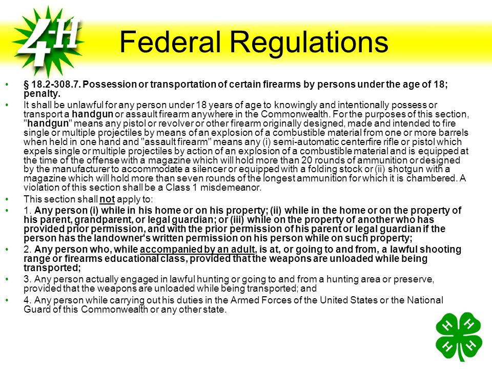 Federal Regulations § 18.2-308.7. Possession or transportation of certain firearms by persons under the age of 18; penalty.
