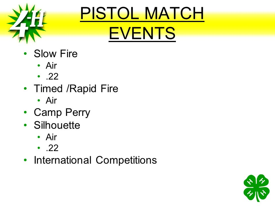 PISTOL MATCH EVENTS Slow Fire Timed /Rapid Fire Camp Perry Silhouette