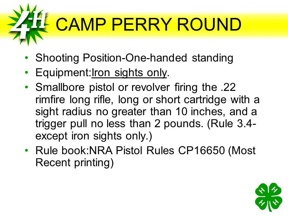 CAMP PERRY ROUND Shooting Position-One-handed standing