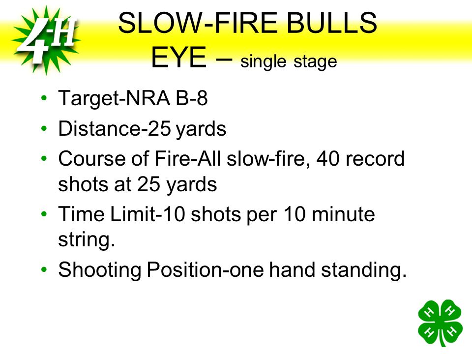 SLOW-FIRE BULLS EYE – single stage