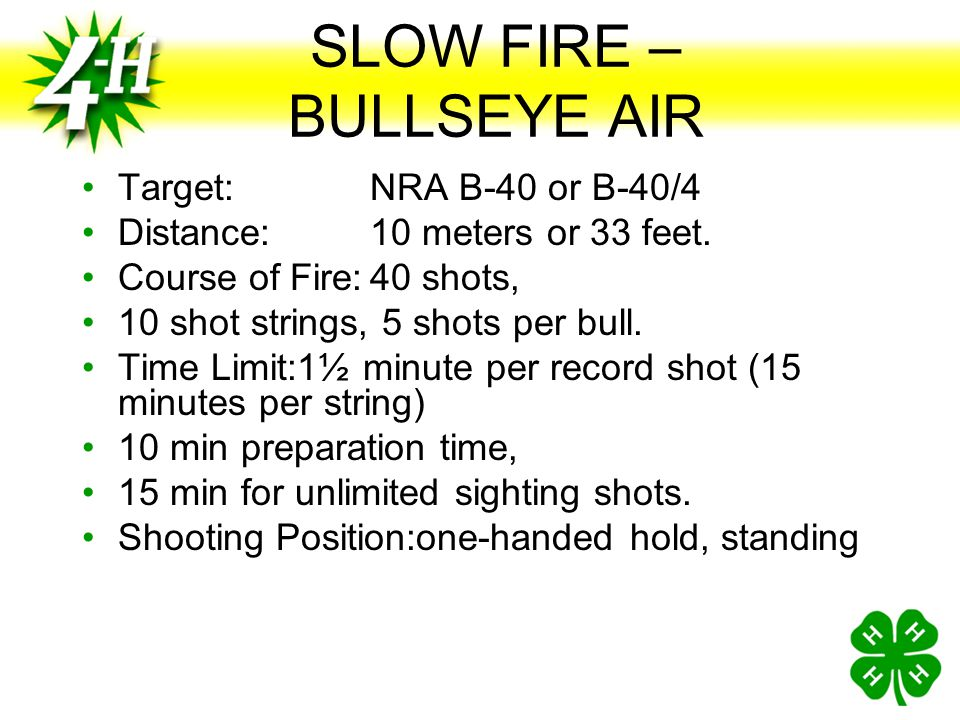 SLOW FIRE –BULLSEYE AIR
