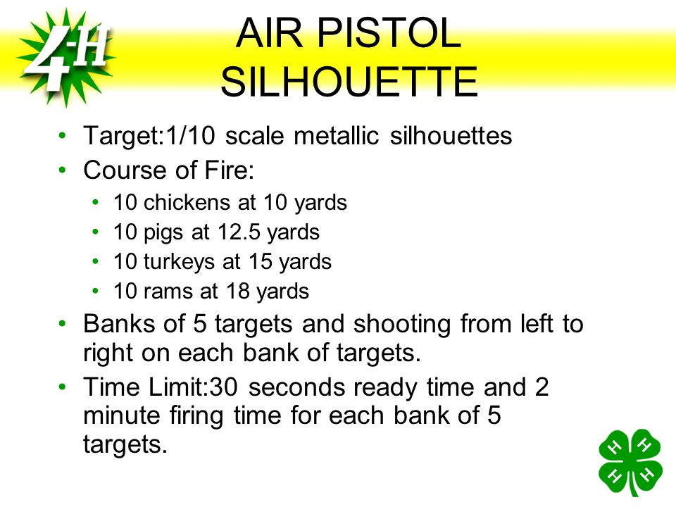 AIR PISTOL SILHOUETTE Target:1/10 scale metallic silhouettes