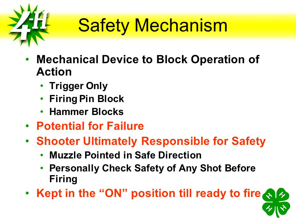 Safety Mechanism Mechanical Device to Block Operation of Action
