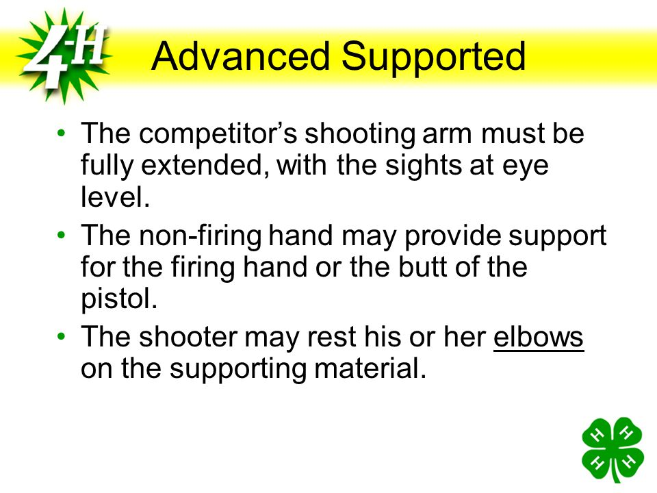 Advanced Supported The competitor's shooting arm must be fully extended, with the sights at eye level.