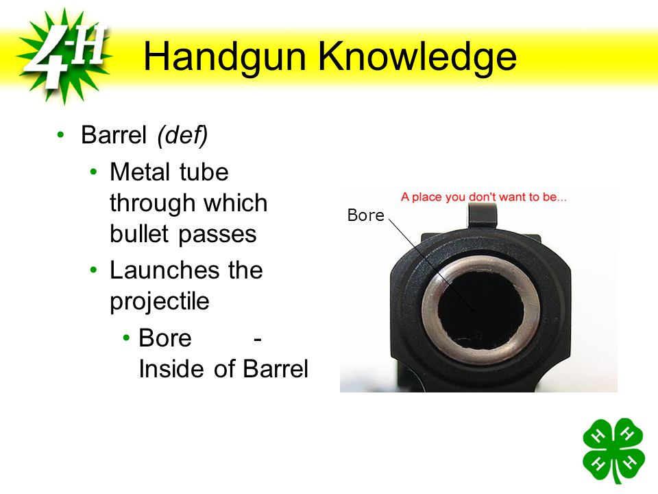 Handgun Knowledge Barrel (def) Metal tube through which bullet passes