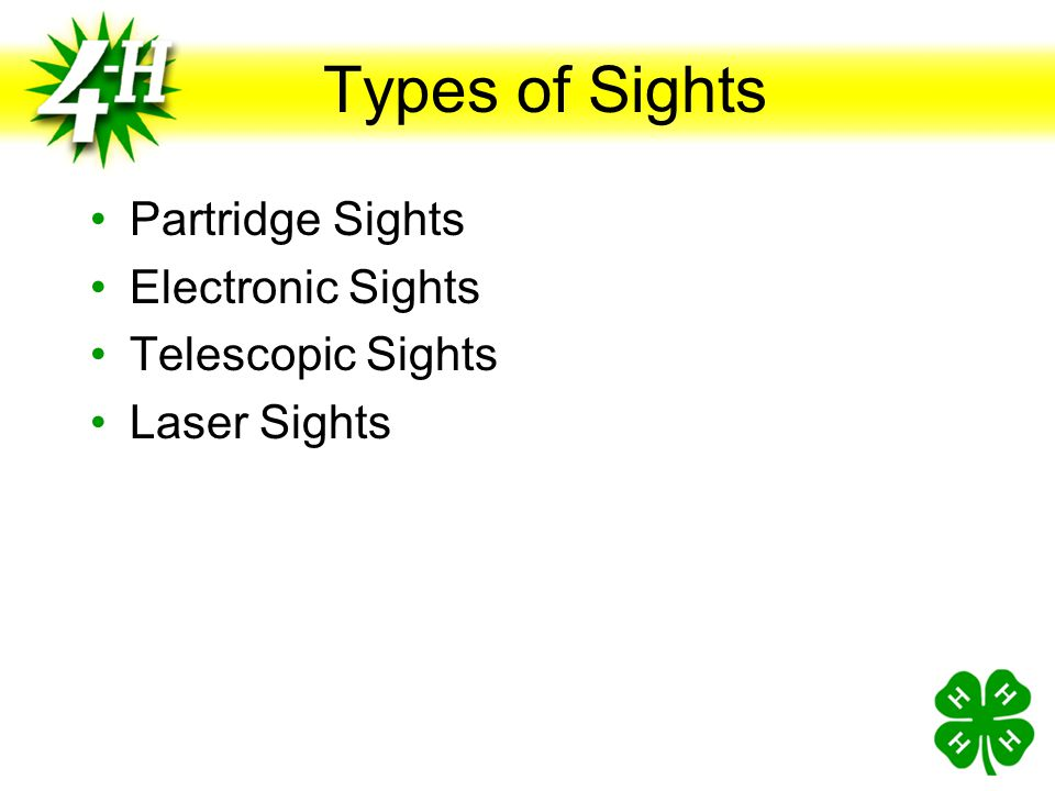 Types of Sights Partridge Sights Electronic Sights Telescopic Sights