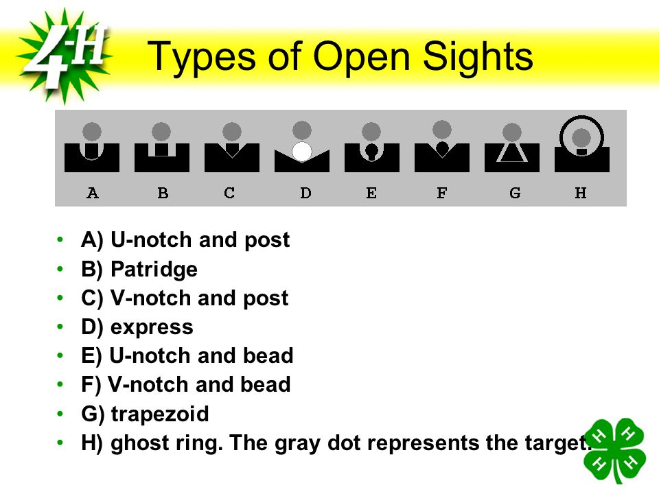 Types of Open Sights A) U-notch and post B) Patridge