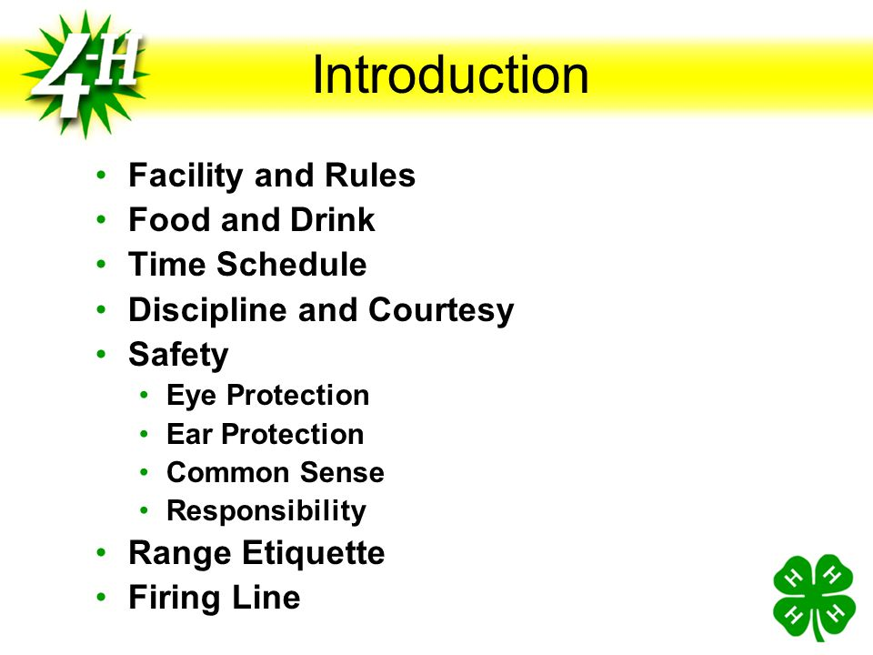 Introduction Facility and Rules Food and Drink Time Schedule