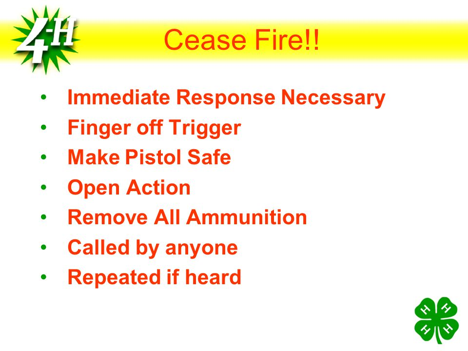 Cease Fire!! Immediate Response Necessary Finger off Trigger