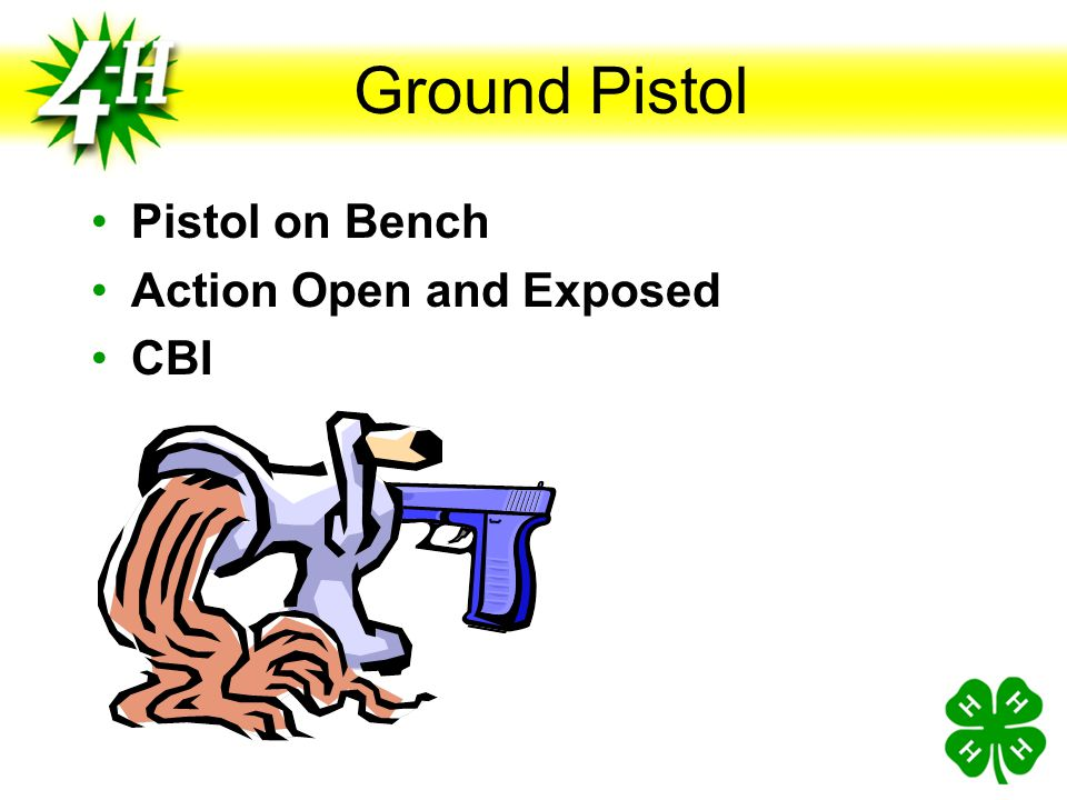 Ground Pistol Pistol on Bench Action Open and Exposed CBI