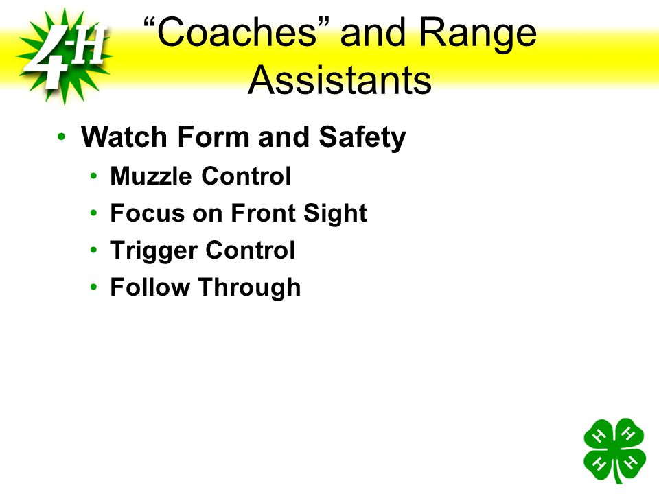 Coaches and Range Assistants
