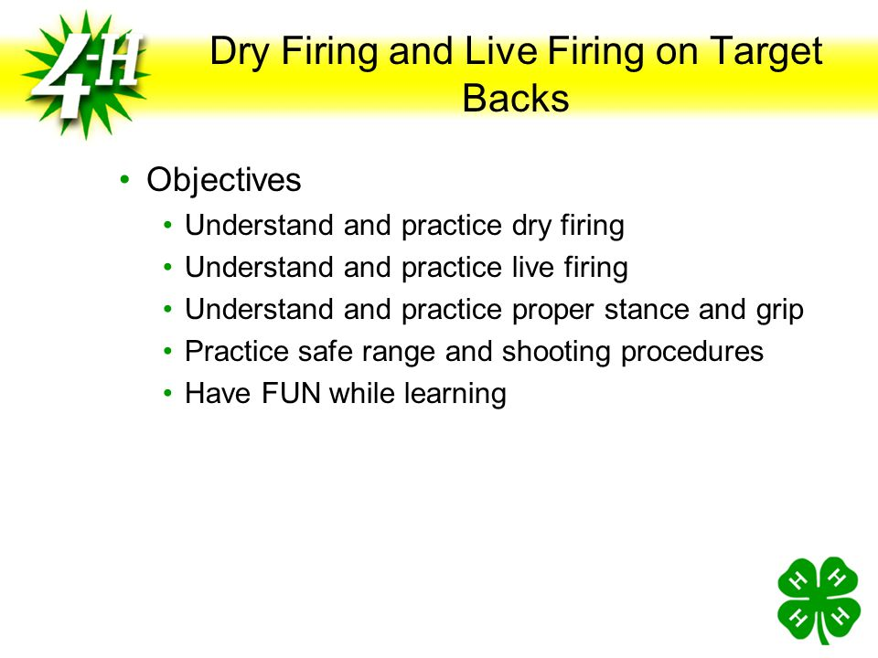 Dry Firing and Live Firing on Target Backs