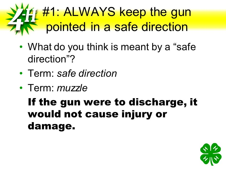 #1: ALWAYS keep the gun pointed in a safe direction