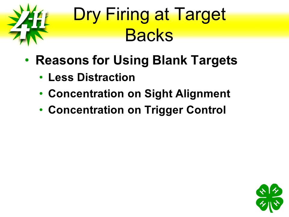 Dry Firing at Target Backs