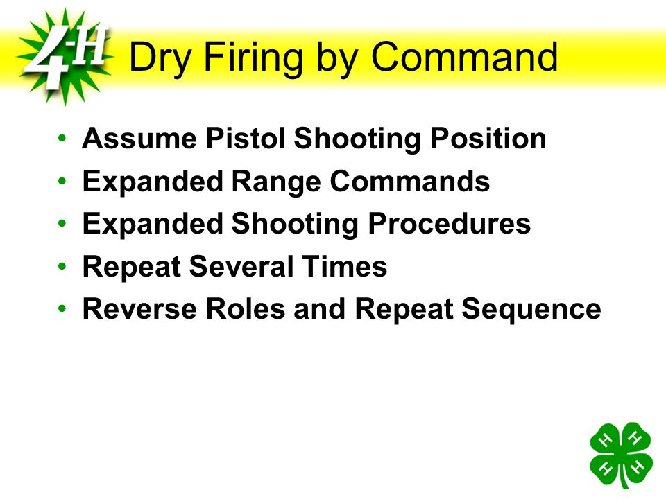 Dry Firing by Command Assume Pistol Shooting Position