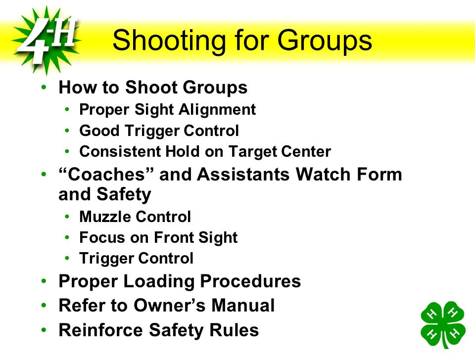 Shooting for Groups How to Shoot Groups