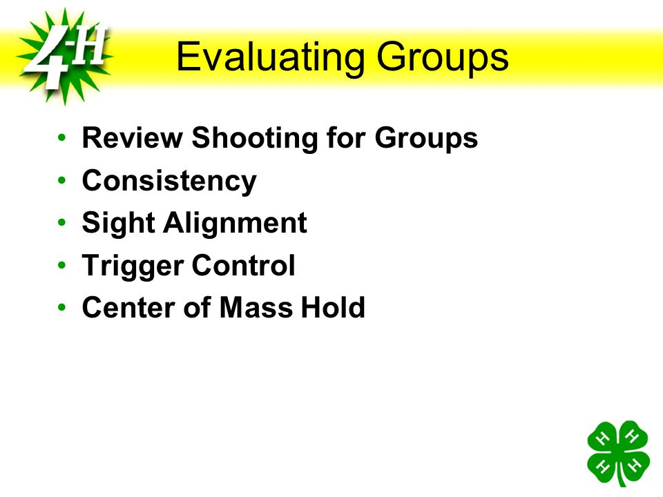 Evaluating Groups Review Shooting for Groups Consistency