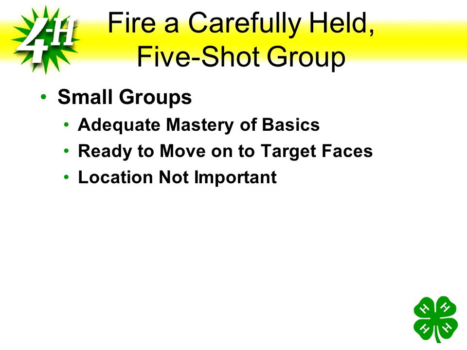Fire a Carefully Held, Five-Shot Group