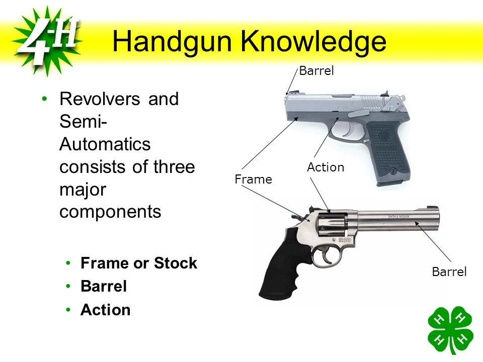 Handgun Knowledge Barrel. Revolvers and Semi-Automatics consists of three major components. Frame or Stock.