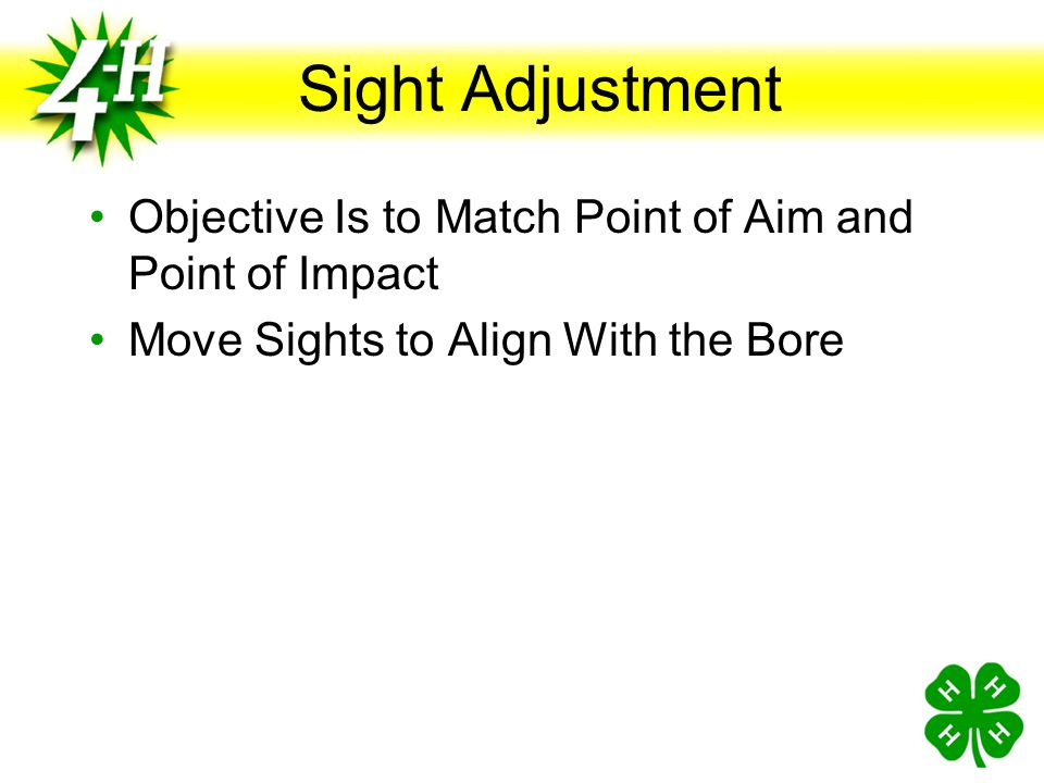 Sight Adjustment Objective Is to Match Point of Aim and Point of Impact.
