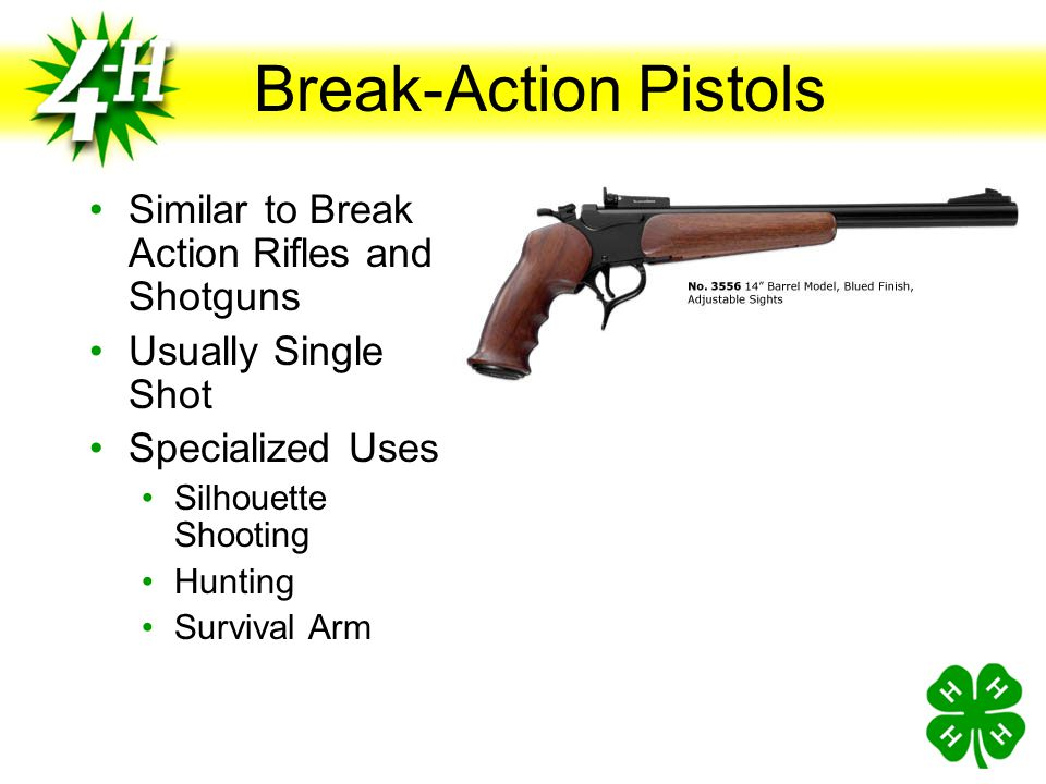 Break-Action Pistols Similar to Break Action Rifles and Shotguns
