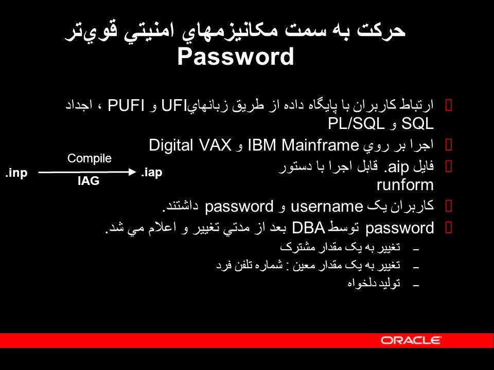 حرکت به سمت مکانيزمهاي امنيتي قويتر Password