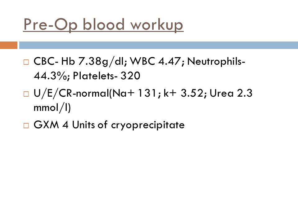 Pre-Op blood workup CBC- Hb 7.38g/dl; WBC 4.47; Neutrophils- 44.3%; Platelets- 320. U/E/CR-normal(Na+ 131; k+ 3.52; Urea 2.3 mmol/l)