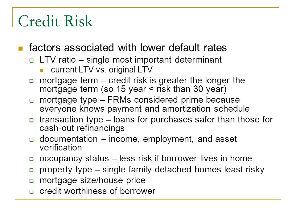 Credit Risk factors associated with lower default rates