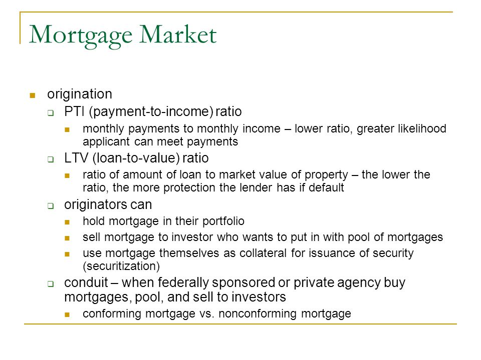 Mortgage Market origination PTI (payment-to-income) ratio