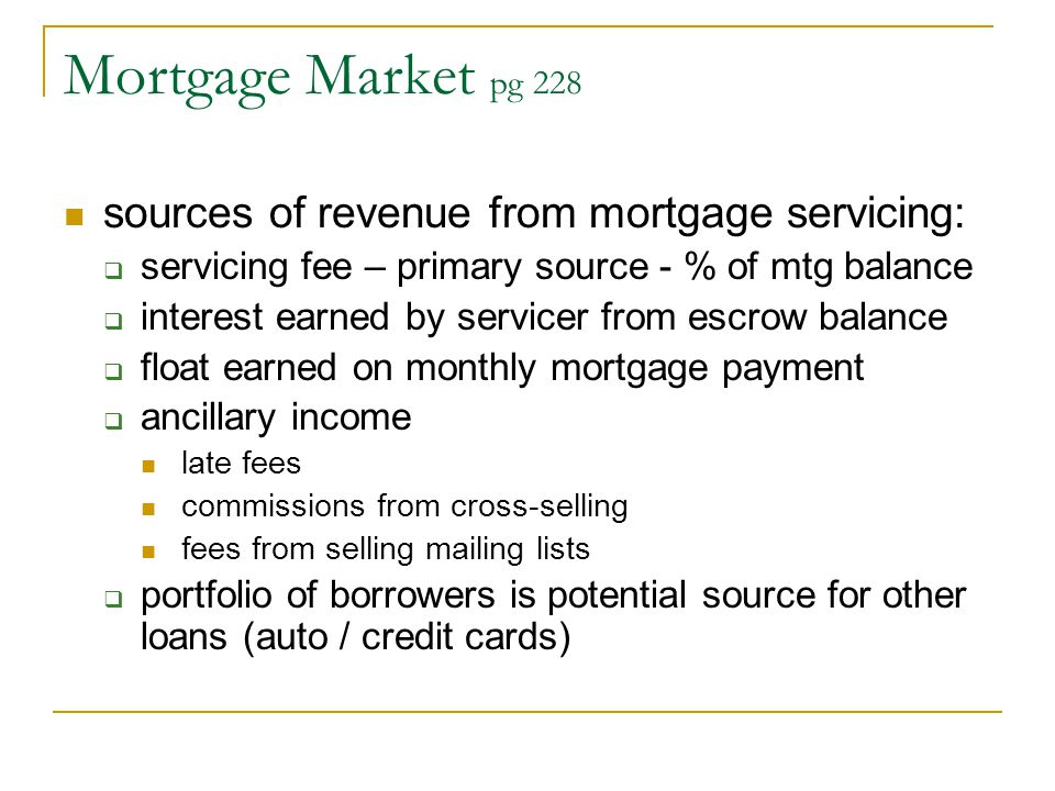 Mortgage Market pg 228 sources of revenue from mortgage servicing: