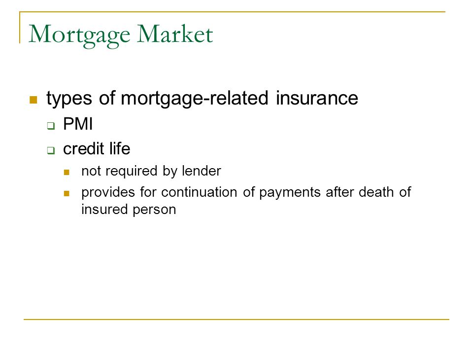 Mortgage Market types of mortgage-related insurance PMI credit life
