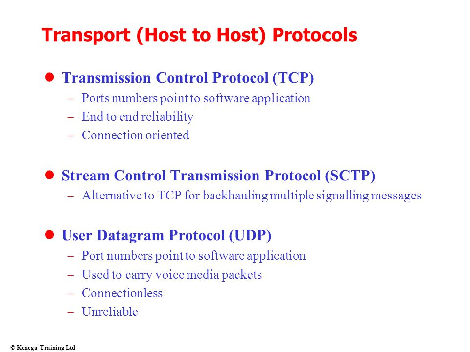 Transport (Host to Host) Protocols