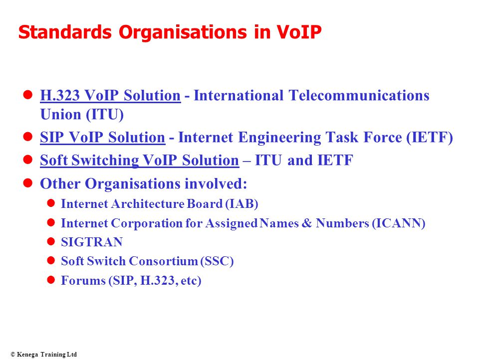 Standards Organisations in VoIP