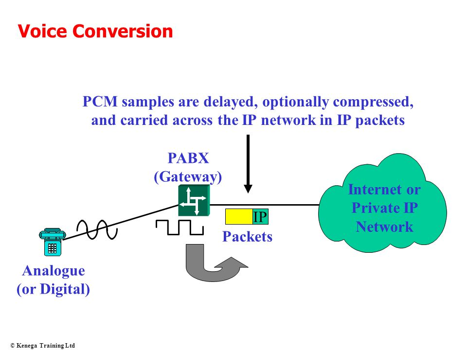 Voice Conversion PCM samples are delayed, optionally compressed, and carried across the IP network in IP packets.