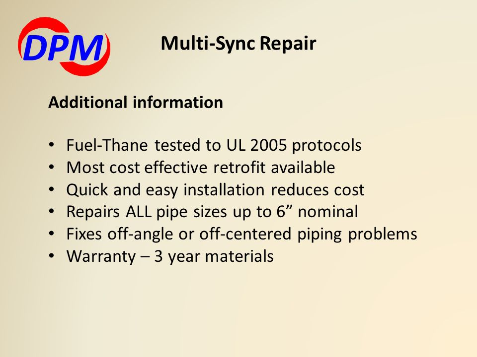 DPM Multi-Sync Repair Additional information