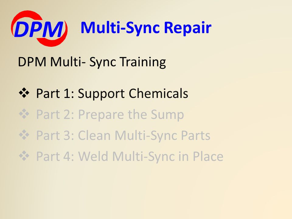 DPM Multi-Sync Repair DPM Multi- Sync Training