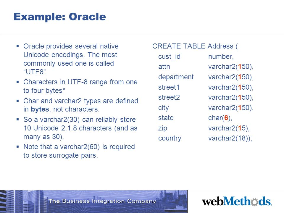 Example: Oracle Oracle provides several native Unicode encodings. The most commonly used one is called UTF8 .