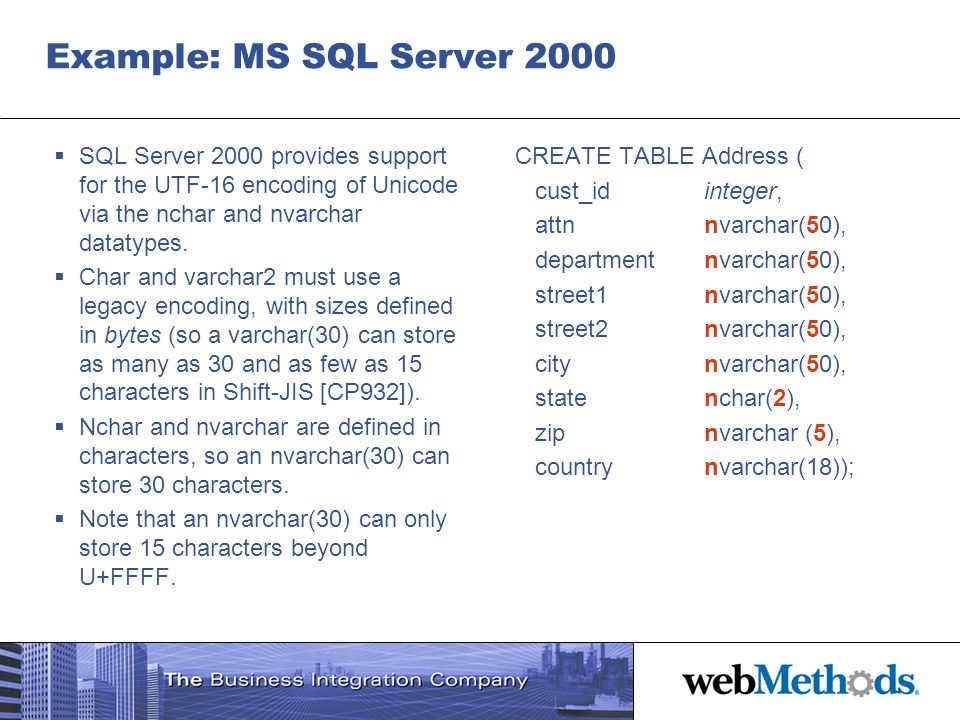 Example: MS SQL Server 2000 SQL Server 2000 provides support for the UTF-16 encoding of Unicode via the nchar and nvarchar datatypes.