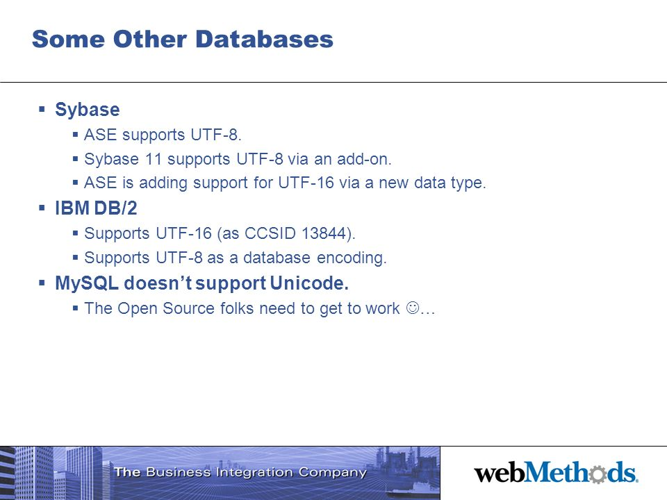 Some Other Databases Sybase IBM DB/2 MySQL doesn't support Unicode.
