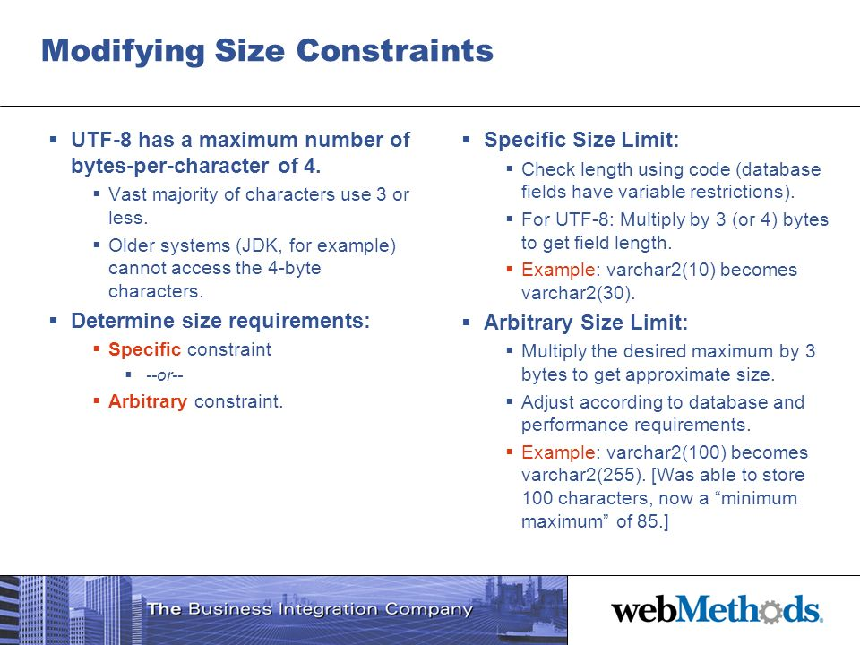 Modifying Size Constraints